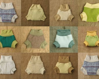 Upcycled wool soaker for cloth diaper cover Wool pants Cover for prefold, flat and fitted diapers Woollies Diaper in wool for baby child