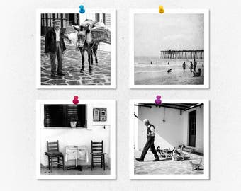 Black and white photography, print set, set of 4 prints, square prints, black white prints, square photos, small prints, photography, gift