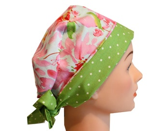 Scrub Hat Surgical Scrub Cap Chemo Hat Tie Back  Flirty Front Fold Pixie Style Pink Floral Green Green 2nd Item Ships FREE