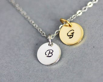 Initial Pendant Necklace Initial Necklace Silver Gold Personalized Necklace Handstamped Necklace Personalized Jewelry Monogram Necklace Gift