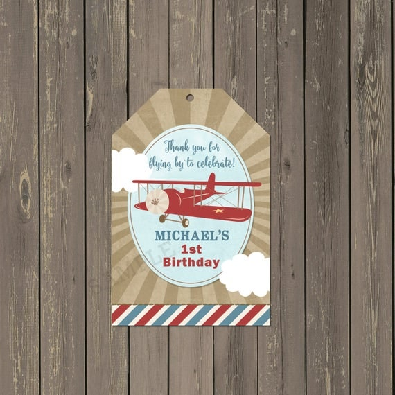Airplane Birthday Party Favor Tags: Airplane Birthday Party Favor Tag, Vintage Plane 1st
