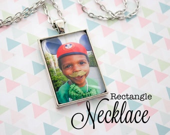 Custom Photo Necklace - Photo Jewelry - Antique Silver Necklace - Personalized Photo Pendant - Picture Necklace - 25 x 35 mm Rectangle