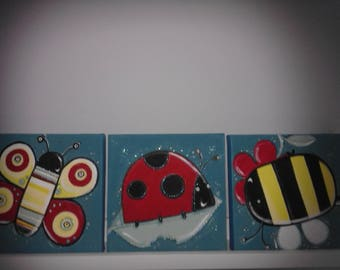 Set of 3 insect paintings