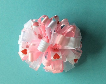 Valentine hearts pink loopy barrette