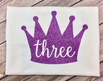 Any Color Princess Crown Birthday Shirt, Three Year Old, Purple Glitter, Queen Birthday Girl, Third Birthday, 3 Year Old Birthday Shirt