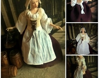 Dollhouse Tudor Wearable gown and head dress/ cap in 12th scale miniature Made to order