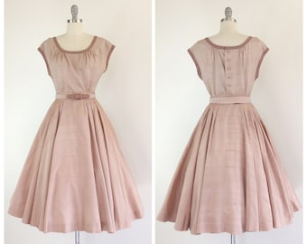 50s Brown Two Piece Skirt & Blouse Set / 1950s Vintage Silk and Linen Dress / Small / Size 4