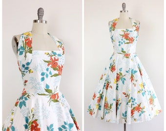 50s Floral & Rhinestone Summer Dress / 1950s Vintage Cotton Halter Sun Dress / Medium / Size 8