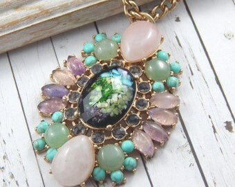 Gemstone Necklace, Semi Precious Gemstone Necklace, Pendant Necklace, Large gemstone necklace, Long Gemstone Necklace