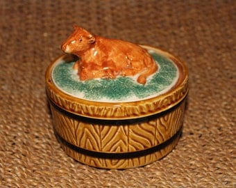 Cow Butter Dish Round Ceramic Finial Made in Japan Brown Jersey Cow Guernsey