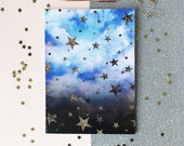 Cloudy Stars celestial A4 Notebook with lined pages
