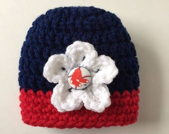 Boston Red Sox baby girl hat, crocheted hat with removable flower, Red Sox baby shower gift