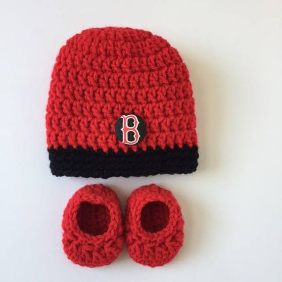 27f053af2 ... boston red sox baby hat and booties red sox baby gift crocheted hat and  ...