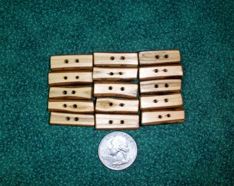 """Toggle Buttons, 15 Sassafras Tree Branch Buttons, Handcrafted Wood Buttons 1"""" inch long, 1/8"""" - 1/4"""" thick"""