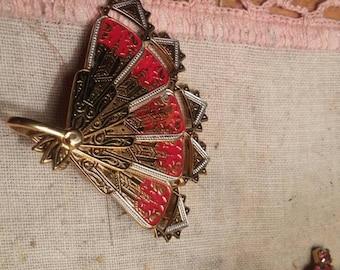 Vintage Fan Brooch from Spain. Marked on back. Damascene ?