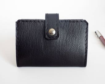 Card case for 20 cards leather. Black leather card holder. Card wallet leather. Gift under 25.