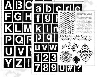 Art-C BLOCK LETTERS Stamp & Adhesive Stencil set flower stamp honey comb fluer de lis 1.cc02