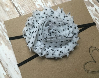 White w/ Black Polka Dots Shabby Flower Headband