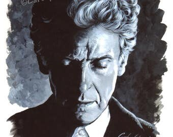 DOCTOR WHO - 12th Doctor Peter Capaldi Signed, numbered Limited Edition A4 Art Print (29.7 x 21cm)
