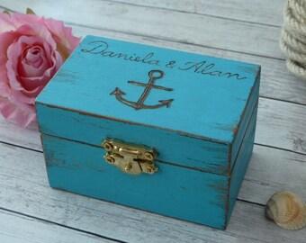 Beach wedding ring box Anchor ring holder Personalized Ring Bearer Box Nautical Wedding Decoration Seashell Turquoise Wedding Custom Color