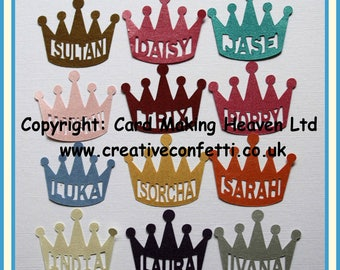 Personalised Name Confetti - Crown for Your Prince or Princess - 50 pieces - 39 colours - Custom made with name of your choice