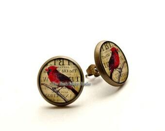 Cardinal earrings, Cardinal jewelry, Cardinal Red Bird Earrings,  Hypoallergenic Earrings for Sensitive Ears
