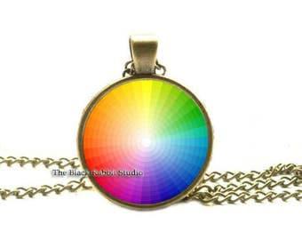 Color Wheel Necklace, Color theory, Artists Gifts, Jewelry for Painters, Artists, Art Students, Pantone Colors, Hypoallergenic Pendants