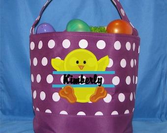 Monogrammed Easter Basket, Polka Dot Embroidered Easter Bucket - Monogrammed Easter Tote - Personalized Easter Bucket - Name Easter Basket