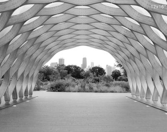 Chicago skyline tunnel sculpture photo print, black and white picture, paper or canvas art wall decor 8x10 11x14 12x12 16x20 24x36