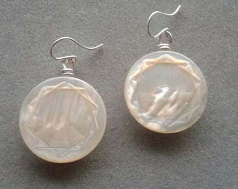 Sterling Silver Wire Wrapped Mother of Pearl Button Earrings