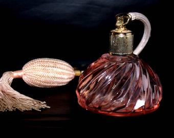 Beautiful Pink Perfume Bottle with Atomizer Pump, Boudoir Art Deco Style, Retro Perfume Bottle
