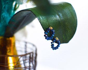 14k Gold Royal Blue Crystal Stud Earrings. Rondelle Bead Earrings.