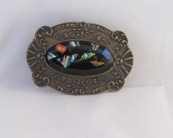 Country, Classy Belt Buckle with Fused Dichoric Glass Cabochon