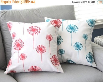 CLEARANCE Pillow Cover, Pillow, Turquoise Pillow, Coral Pillow, Decorative Throw Pillow, Throw Pillow, Couch Pillow, Beach Decor, Dandelions