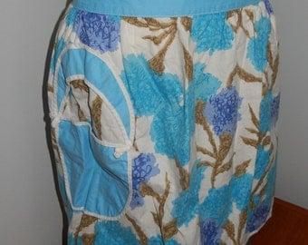 Vintage Blue Floral Cotton Half Apron with Light Blue Basket Pocket