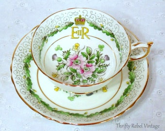 Vintage 1953 Paragon Queen Elizabeth II Commemoration Teacup and Saucer set
