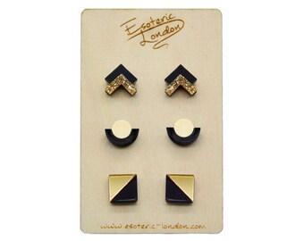 Geometric Shimmer & Sparkle Earrings Set