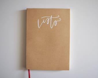 "Kraft Cover Embossed ""lists"" Journal // Notebook // Notepad"