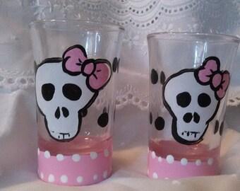 Skull with Pink Bow & Poka Dots