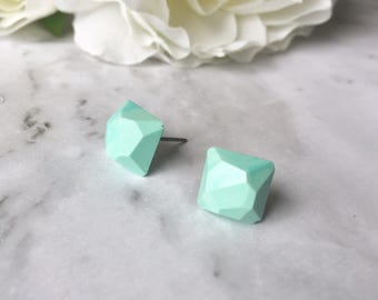 Pale Light Blue Faceted Square Gem Resin Post Earrings. Nickel Free. Made by Hand in Australia. Great for Sensitive Ears.