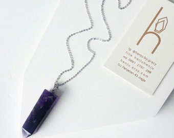 Amethyst Point Necklace, Amethyst Crystal Long Necklace, Rectangle Amethyst Necklace, Sterling Silver Long Amethyst Necklace,Purple Necklace