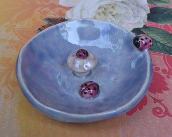 Ceramic ring holder. Ladybug ring holder. Lucky ladybug ring bowl. Whimsical ring bowl. Handmade mushroom ring holder. Mushroom ring holder.