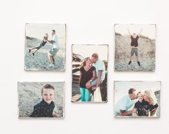 Personalized, Custom Rustic Wood Photo 5-Piece Collection - Mini-Gallery Wall Set - 1 9x11 + 4 8x10 - Makes a GREAT gift for ANY occasion!