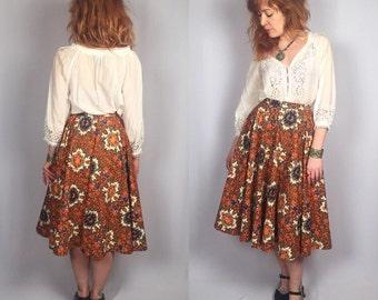 Vintage 1950's Psychedelic Orange Circle Skirt 28W