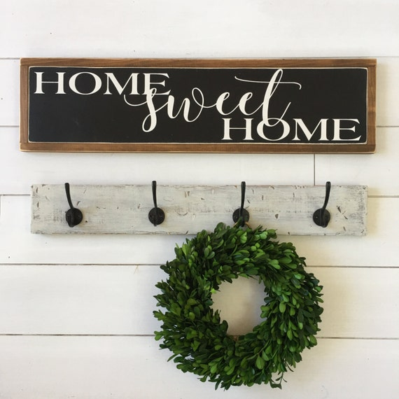 Home Sweet Home Painted Wood Sign Home Decor By