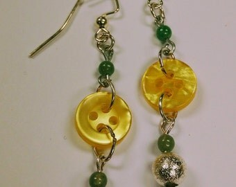 Yellow Button Drop Earrings