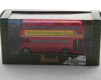 Vintage Harrods Double Decker Bus Toy Die-Cast Bus by Juniors, London Bus