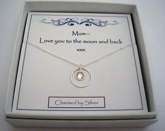 A Perfect Gift for a Mum -  A Sterling Silver Round Crystal Charm Necklace