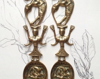 SALE: Pair of Hindu Pooja Ritual Spoons - Siva and Parvati on the Handle with Kartikeya on the Bowl