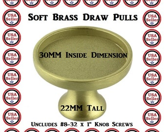 12 Brass Kitchen Pulls Blank Bezel Tray Dresser Knobs DIY Project Add Own Graphic Customize Ur Own Decor Drawer Knob 30MM Glass Dome Insert